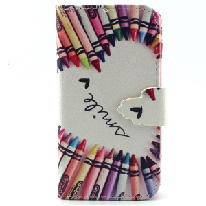 Pencil Pattern Wallet Leather Stand Phone Case for iPhone 5s 5
