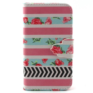 Wallet Stand Leather Flip Cover for iPhone 4s 4 - Roses and Stripes
