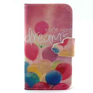 Wallet Leather Flip Case for iPhone 4s 4 - Colorful Balloons and Make Your Dreams Come True