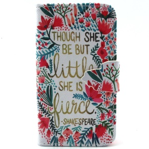 For iPhone 4s 4 Magnetic Leather Flip Case - Quote Though She Be But Little She Is Fierce