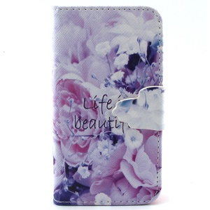 For iPhone 4s 4 Magnetic Leather Cover Case - Life Is Beautiful and Pretty Flowers