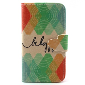 For iPhone 4s 4 Leather Case with Credit Card Slots - Be Happy and Rhombus Pattern