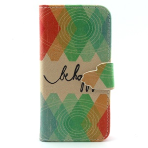Wallet Leather Stand Case for iPhone 5c - Be Happy and Geometric Pattern
