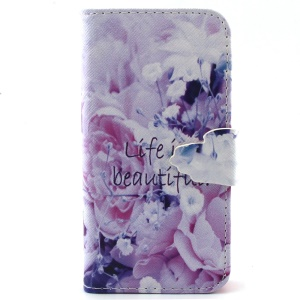 Wallet Leather Stand Cover for iPhone 5c - Flowers and Life is Beautiful Pattern