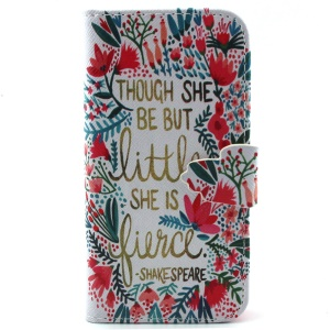 Wallet Leather Stand Case Cover for iPhone 5c - Flowers and Quotes Pattern