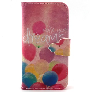Magnetic Leather Stand Case for iPhone 5c - Colorized Balloon and Make Your Dreams