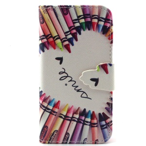 Magnetic Leather Stand Cover for iPhone 5c - Pencil Shaped Heart