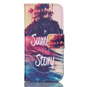 Magnetic Wallet Leather Protective Cover for iPhone 5s 5 - Sea and Every Summer Has A Story