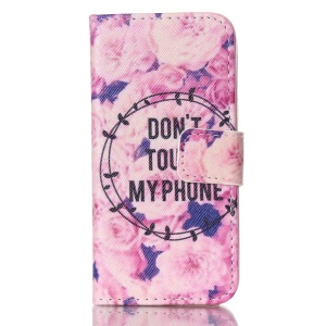 Wallet Leather Stand Cover for iPhone 5s 5 - Flowers and Quoted with Do not Touch My Phone