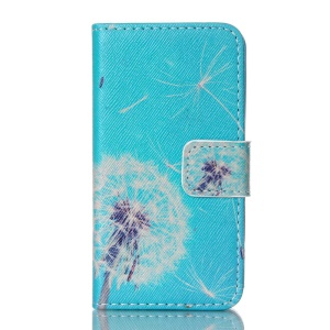 Magnetic Leather Stand Case for iPhone 4S - White Dandelion