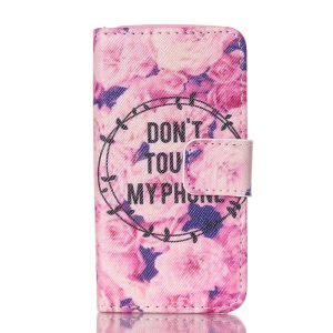 Magnetic Leather Stand Phone Case for iPhone 4S - Flowers and Do not Touch my Phone