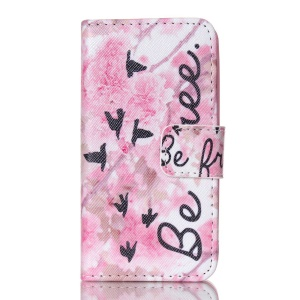 Magnetic Wallet Leather Phone Case for iPhone 4S - Flowers and Be Free