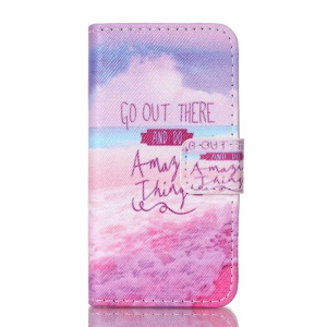 Magnetic Leather Card Holder Phone Case for iPhone 4S - Quote and Beach