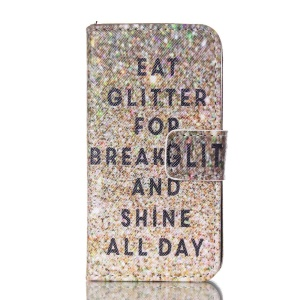 Magnetic Leather Phone Case for iPhone 4S - Eat Glitter for Breakfast and Shine All Day
