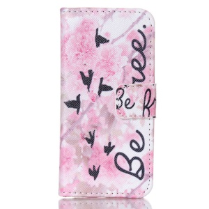 Magnetic Wallet Leather Stand Case for iPhone 5c - Flowers and Be Free