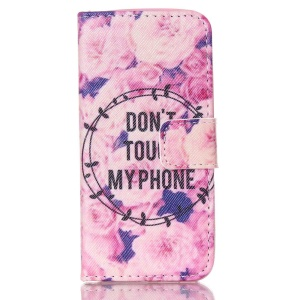 Magnetic Leather Stand Case for iPhone 5c - Flowers and Do Not Touch My Phone