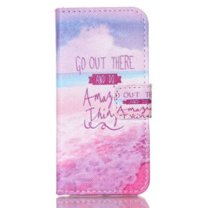 Magnetic Wallet Leather Stand Case for iPhone 5c - Quote and Beach