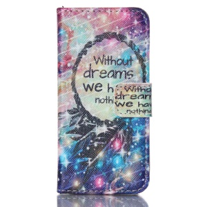 Magnetic Leather Stand Case for iPhone 5c - Dream Catcher and Quote