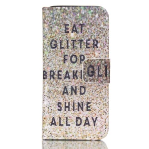 Magnetic Leather Stand Case for iPhone 5c - Eat Glitter for Breakfast and Shine All Day
