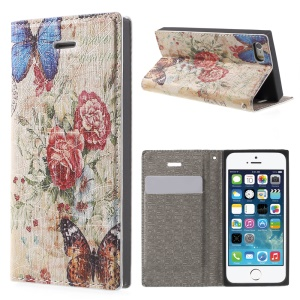 For iPhone 5s 5 Stand Leather Case with Closing Magnet - Blooming Flowers and Butterflies