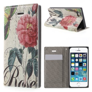 For iPhone 5s 5 Stand Leather Cover with Closing Magnet - Red Flower and Butterfly