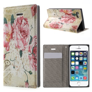 For iPhone 5s 5 Magnetic Stand Leather Case Cover - Pretty Roses