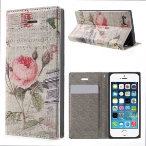 For iPhone 5s 5 Magnetic Leather Flip Case Card Holder - Roses and Triumphal Arch