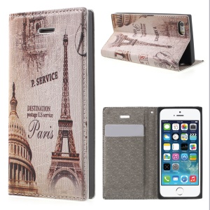 For iPhone 5s 5 Magnetic Flip Leather Cover Card Holder - Paris Eiffel Tower