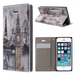 For iPhone 5s 5 Magnetic Leather Cover with Card Slot - London Big Ben