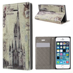 For iPhone 5s 5 Magnetic Leather Cover with Card Slot - French Buildings