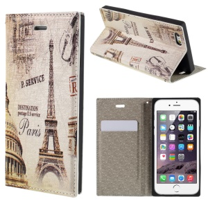 PU Leather Stand Cover for iPhone 6 4.7 inch - Eiffel Tower