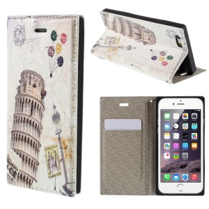 PU Leather Stand Shell for iPhone 6 4.7 inch - Leaning Tower