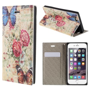 PU Leather Stand Shell for iPhone 6 4.7 inch - Butterfly and Flower