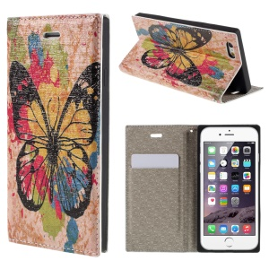 PU Leather Stand Shell for iPhone 6 4.7 inch - Butterfly