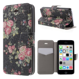 Elegant Flower PU Leather Stand Cover Case for iPhone 5c