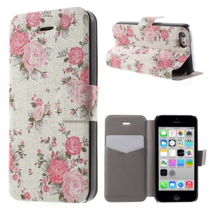 Beautiful Flower PU Leather Card Holder Stand Cover Case for iPhone 5c