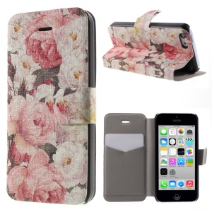 Rose Pattern PU Leather Card Holder Stand Phone Case for iPhone 5c