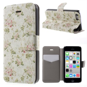 For iPhone 5c Beautiful Flower PU Leather Card Holder Stand Cover Case