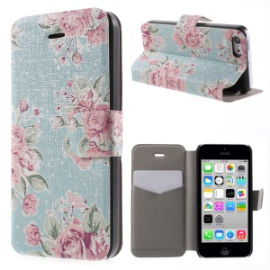 Red Rose PU Leather Card Holder Stand Protective Case for iPhone 5c
