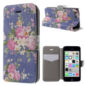 Beautiful Rose Pattern PU Leather Card Holder Stand Cover Case for iPhone 5c