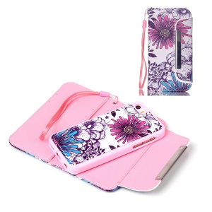 Detachable Wallet Leather Phone Case for iPhone 5c - Flower