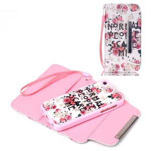 Detachable Wallet Leather Phone Cover for iPhone 5c - Blooming Roses and Quote