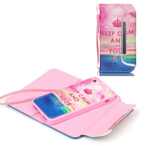 Detachable Wallet Leather Phone Shell for iPhone 5c - Scenery and Quote
