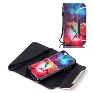 Detachable Wallet Leather Phone Case for iPhone 5c - Starry Space and Quote