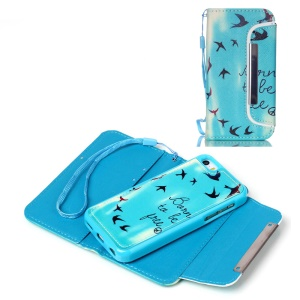 Detachable Card Holder Leather Phone Case for iPhone 5c - Flying Birds