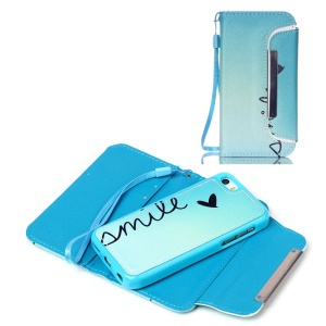 Detachable Wallet Leather Phone Case for iPhone 5c - Smile