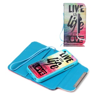 Detachable Wallet Leather Phone Case for iPhone 5c - Sea and Quote