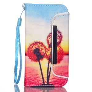 Detachable Wallet Leather Phone Cover for iPhone 5 5s - Dandelion