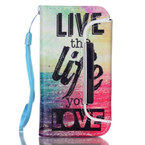 Detachable Wallet Leather Phone Shell for iPhone 5 5s - Sea and Quote