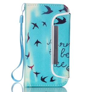 Detachable Card Holder Leather Phone Cover for iPhone 5 5s - Flying Birds and Quote